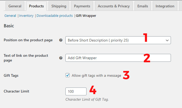 Gift Wrapper section woocommerce