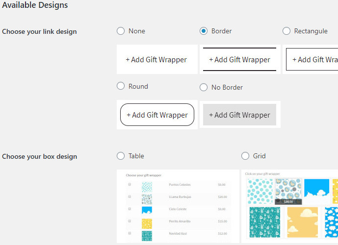 Available Designs woocommerce